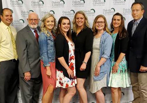 Staff members who work with the CenteringPregnancy Prenatal Care Program at CHI St. Alexius Health Dickinson gathered for a photo upon being named an Outstanding Rural Health Program by the University of North Dakota.